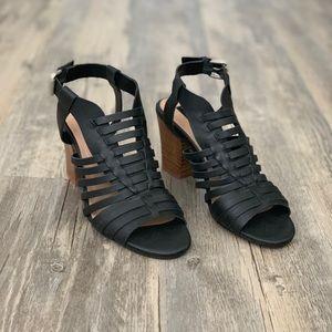 Steven Black Leather Caged Block Heel Sandal 7.5